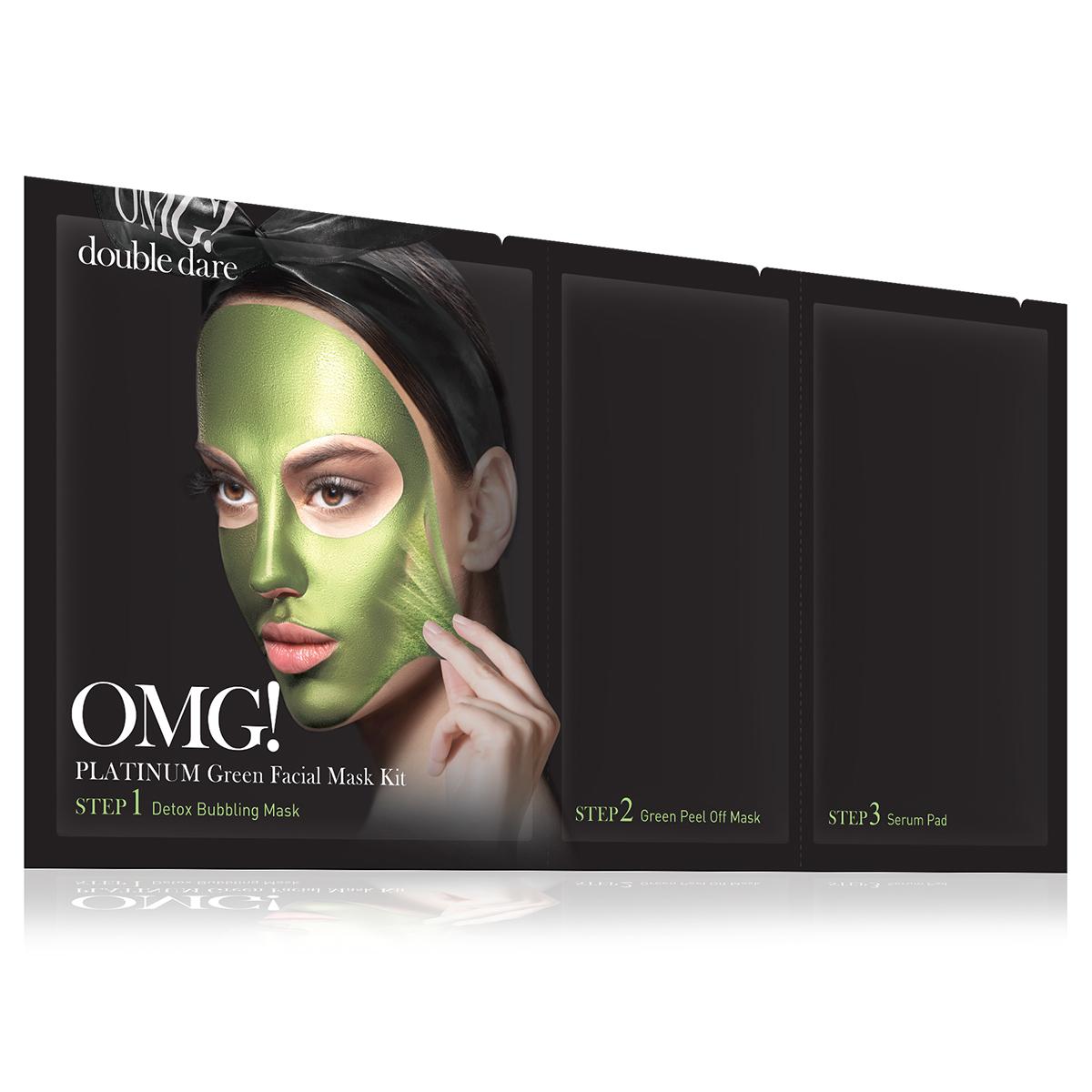 Double Dare OMG! Platinum Green Facial Mask Kit Маска трехкомпонентная для ухода за кожей лица зеленая79693Яркая маска серии Double Dare OMG! Platinum разработана с использованием передовых технологий по очищению лица и уникального состава компонентов.Маска глубоко очищает и увлажняет кожу, придает коже мягкость и свежесть, обладает антивозрастным эффектом.Отличительной чертой зеленой маски является присутствие в составе ламинарии и хлореллы для упругости и себоконтроля.Три простых шага для глубокого очищения, улучшения цвета и общего состояния кожи лица!Шаг 1. Детокс кислородная маска для глубокого очищения.Кислородная маска-детокс аккуратно очищает кожу и придает лицу свежесть и сияние.Способ применения:Нанесите маску на кожу до или после снятия макияжа. Оставьте маску на лице на 1-3 минуты. Тщательно смойте маску водой и высушите лицо.Состав:Water, Glycerin, Cocamidopropyl Betaine, Dipropylene Glycol, Disiloxane, Methyl Perfluorobutyl Ether, Water, Methyl Perfluoroisobutyl Ether, Butylene Glycol, Sodium Cocoyl Apple Amino Acids, Hexylene Glycol, Hydroxyethylcellulose, 1,2-Hexanediol, Sodium Chloride, Ethylhexylglycerin, Disodium EDTA, Phenoxyethanol, Fragrance.Шаг 2. Очищающая маска-пленка.Нежная маска-пленка с ламинарией и хлореллой для упругости и себоконтроля.Способ применения:Нанесите тонкий ровный слой маски на лицо. Оставьте маску на лице на 20-30 минут до полного высыхания. Очистите лицо от маски.Состав:Water, Polyvinyl Alcohol, Alcohol, Dipropylene Glycol, Mica, Titanium Dioxide, Synthetic Fluorphlogopite, Polysorbate 20, Xanthan Gum, Butylene Glycol, Glycerin, Polymethylsilsesquioxane, Isohexadecane, Dimethicone, Steareth-21, Steareth-2, Ficus Carica (Fig) Fruit/Leaf Extract, Ulmus Davidiana Root Extract, Diospyros Kaki Leaf Extract, Houttuynia Cordata Extract, Eriobotrya Japonica Leaf Extract, Laminaria Japonica Extract, Chlorella Vulgaris Extract, Undaria Pinnatifida Extract, PEG-40 Stearate, Cetearyl Methicone, Montmorillonite, Iron Oxides, Ethylhexyl