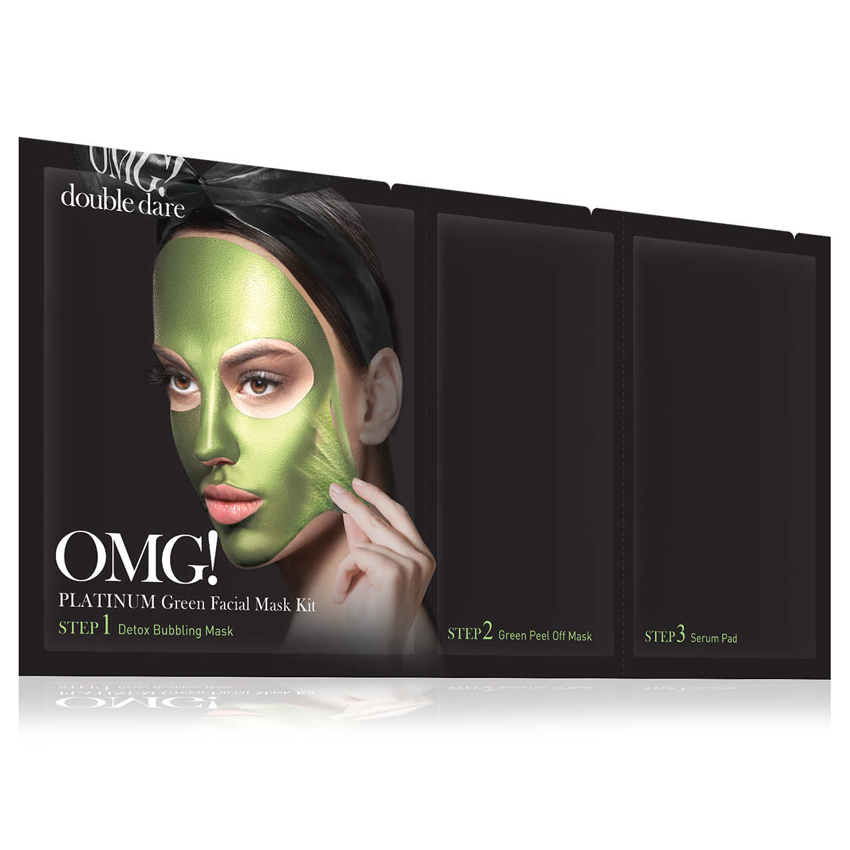 Double Dare OMG! Platinum Green Facial Mask Kit Маска трехкомпонентная для ухода за кожей лица зеленая double dare omg маска трехкомпонентная для восстановления волос 3in1 kit hair repair system