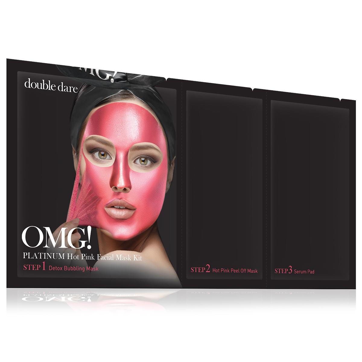 Double Dare OMG! Platinum Hot Pink Facial Mask Kit Маска трехкомпонентная для ухода за кожей лица розовая011869Яркая маска серии Double Dare OMG! Platinum разработана с использованием передовых технологий по очищению лица и уникального состава компонентов.Маска глубоко очищает и увлажняет кожу, придает коже мягкость и свежесть, обладает антивозрастным эффектом.Отличительной чертой розовой маски является присутствие в составе розы и пеларгонии для увлажнения и себоконтроля.Три простых шага для глубокого очищения, улучшения цвета и общего состояния кожи лица!Шаг 1. Детокс кислородная маска для глубокого очищения.Кислородная маска-детокс аккуратно очищает кожу и придает лицу свежесть и сияние.Способ применения:Нанесите маску на кожу до или после снятия макияжа. Оставьте маску на лице на 1-3 минуты. Тщательно смойте маску водой и высушите лицо.Состав:Water, Glycerin, Cocamidopropyl Betaine, Dipropylene Glycol, Disiloxane, Methyl Perfluorobutyl Ether, Water, Methyl Perfluoroisobutyl Ether, Butylene Glycol, Sodium Cocoyl Apple Amino Acids, Hexylene Glycol, Hydroxyethylcellulose, 1,2-Hexanediol, Sodium Chloride, Ethylhexylglycerin, Disodium EDTA, Phenoxyethanol, Fragrance.Шаг 2. Очищающая маска-пленка.Нежная маска-пленка с розой и пеларгонией для увлажнения и себоконтроля.Способ применения:Нанесите тонкий ровный слой маски на лицо. Оставьте маску на лице на 20-30 минут до полного высыхания. Очистите лицо от маски.Состав:Water, Polyvinyl Alcohol, Alcohol, Dipropylene Glycol, Mica, Titanium Dioxide, Synthetic Fluorphlogopite, Polysorbate 20, Xanthan Gum, Butylene Glycol, Glycerin, Polymethylsilsesquioxane, Isohexadecane, Dimethicone, Steareth-21, Steareth-2, Ficus Carica (Fig) Fruit/Leaf Extract, Ulmus Davidiana Root Extract, Diospyros Kaki Leaf Extract, Houttuynia Cordata Extract, Eriobotrya Japonica Leaf Extract, Laminaria Japonica Extract, Chlorella Vulgaris Extract, Undaria Pinnatifida Extract, PEG-40 Stearate, Cetearyl Methicone, Montmorillonite, Iron Oxides, Ethylhexyl