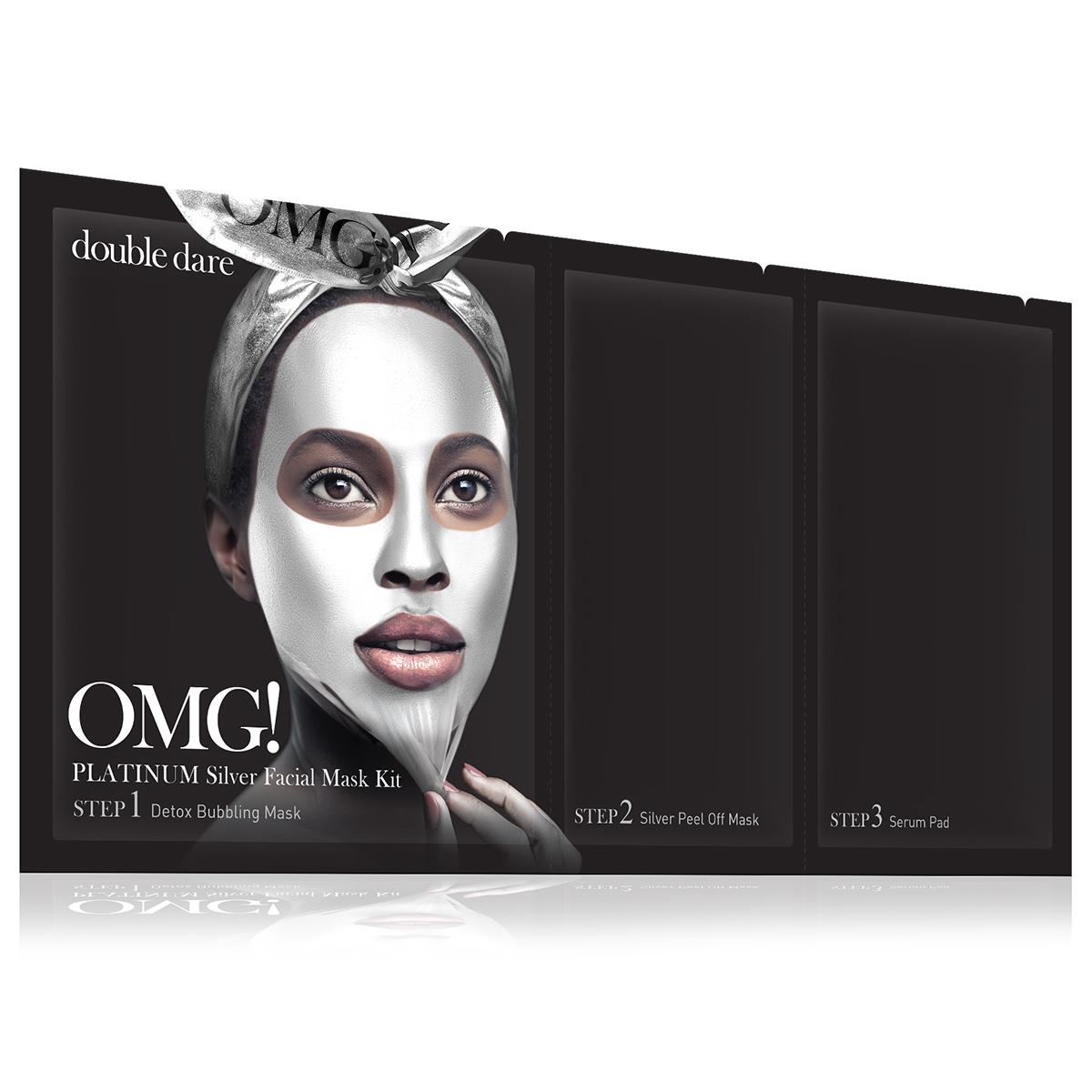 Double Dare OMG! Platinum Silver Facial Mask Kit Маска трехкомпонентная для ухода за кожей лица серебряная011890Яркая маска серии Double Dare OMG! Platinum разработана с использованием передовых технологий по очищению лица и уникального состава компонентов.Маска глубоко очищает и увлажняет кожу, придает коже мягкость и свежесть, обладает антивозрастным эффектом.Отличительной чертой серебряной маски является присутствие в составе жемчуга и алмаза для отбеливания и восстановления кожи.Три простых шага для глубокого очищения, улучшения цвета и общего состояния кожи лица!Шаг 1. Детокс кислородная маска для глубокого очищения.Кислородная маска-детокс аккуратно очищает кожу и придает лицу свежесть и сияние.Способ применения:Нанесите маску на кожу до или после снятия макияжа. Оставьте маску на лице на 1-3 минуты. Тщательно смойте маску водой и высушите лицо.Состав:Water, Glycerin, Cocamidopropyl Betaine, Dipropylene Glycol, Disiloxane, Methyl Perfluorobutyl Ether, Water, Methyl Perfluoroisobutyl Ether, Butylene Glycol, Sodium Cocoyl Apple Amino Acids, Hexylene Glycol, Hydroxyethylcellulose, 1,2-Hexanediol, Sodium Chloride, Ethylhexylglycerin, Disodium EDTA, Phenoxyethanol, Fragrance.Шаг 2. Очищающая маска-пленка.Нежная маска-пленка с жемчугом и алмазом для отбеливания и восстановления кожи.Способ применения:Нанесите тонкий ровный слой маски на лицо. Оставьте маску на лице на 20-30 минут до полного высыхания. Очистите лицо от маски.Состав:Water, Polyvinyl Alcohol, Alcohol, Dipropylene Glycol, Mica, Titanium Dioxide, Synthetic Fluorphlogopite, Polysorbate 20, Xanthan Gum, Butylene Glycol, Glycerin, Polymethylsilsesquioxane, Isohexadecane, Dimethicone, Steareth-21, Steareth-2, Ficus Carica (Fig) Fruit/Leaf Extract, Ulmus Davidiana Root Extract, Diospyros Kaki Leaf Extract, Houttuynia Cordata Extract, Eriobotrya Japonica Leaf Extract, Laminaria Japonica Extract, Chlorella Vulgaris Extract, Undaria Pinnatifida Extract, PEG-40 Stearate, Cetearyl Methicone, Montmorillonite, Iron 