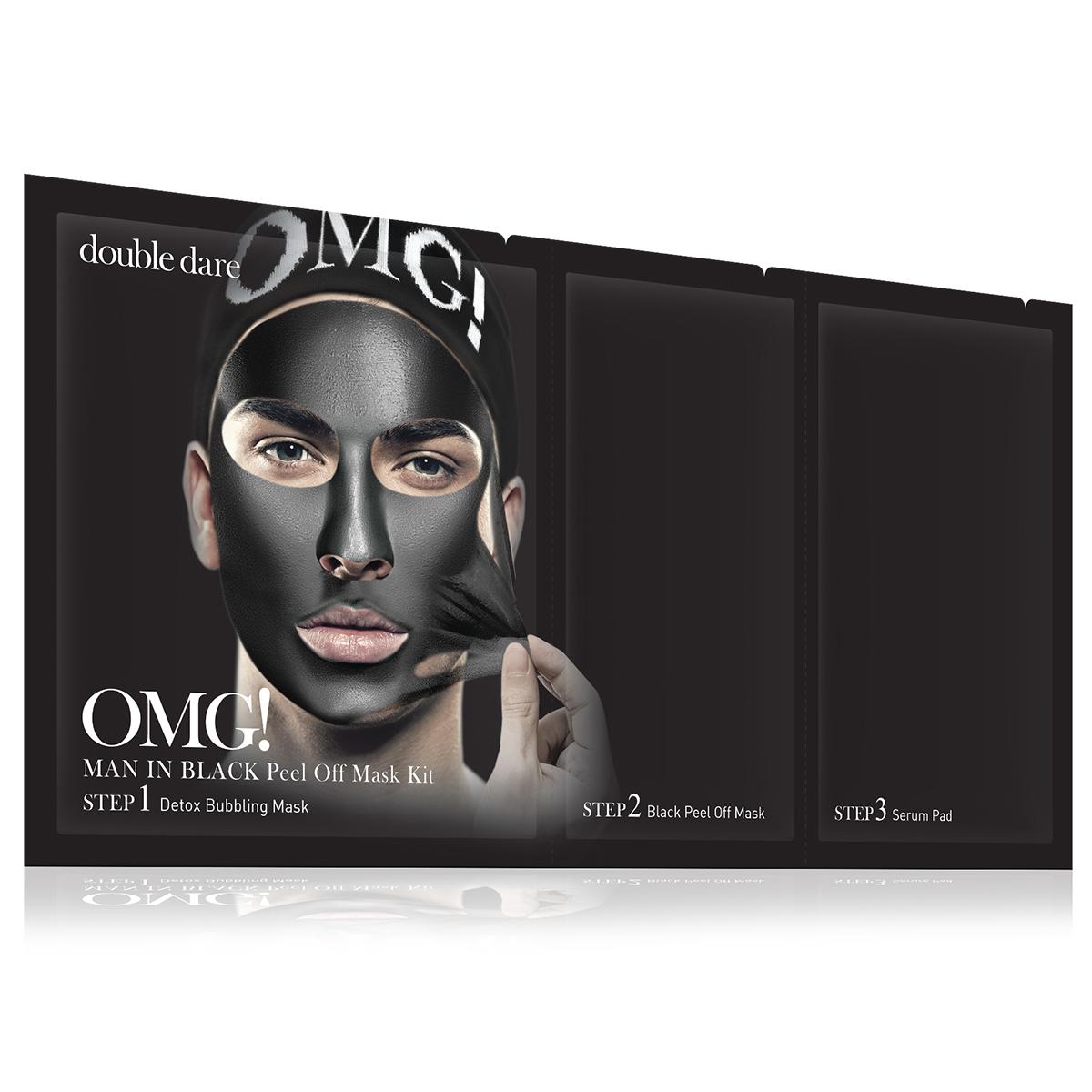 Double Dare OMG! Man In Black Peel Off Mask Kit Маска мужская трехкомпонентная для ухода за кожей лица double dare omg маска трехкомпонентная для восстановления волос 3in1 kit hair repair system