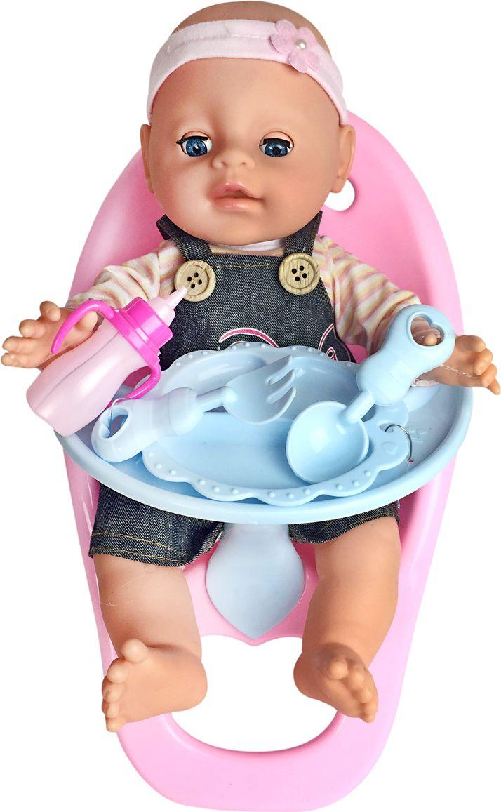 Lisa Jane Пупс со стульчиком для кормления цвет одежды персиковый серый кукла интерактивная lisa jane mami в розовом 40 см