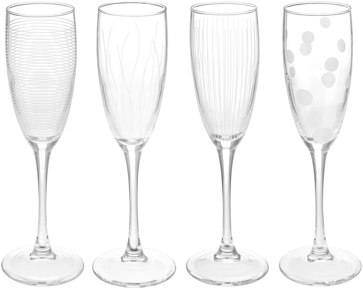 """Набор ОСЗ """"Лаунж Клаб"""" состоит из четырех бокалов, выполненных из стекла. Изделия  оснащены высокими ножками и предназначены для подачи игристого вина. Они сочетают в  себе элегантный дизайн и функциональность. Благодаря такому набору пить напитки будет  еще вкуснее. Набор фужеров для шампанского ОСЗ """"Лаунж Клаб"""" прекрасно оформит праздничный стол  и создаст приятную атмосферу за романтическим ужином. Такой набор также станет  хорошим подарком к любому случаю. Можно мыть в посудомоечной машине."""