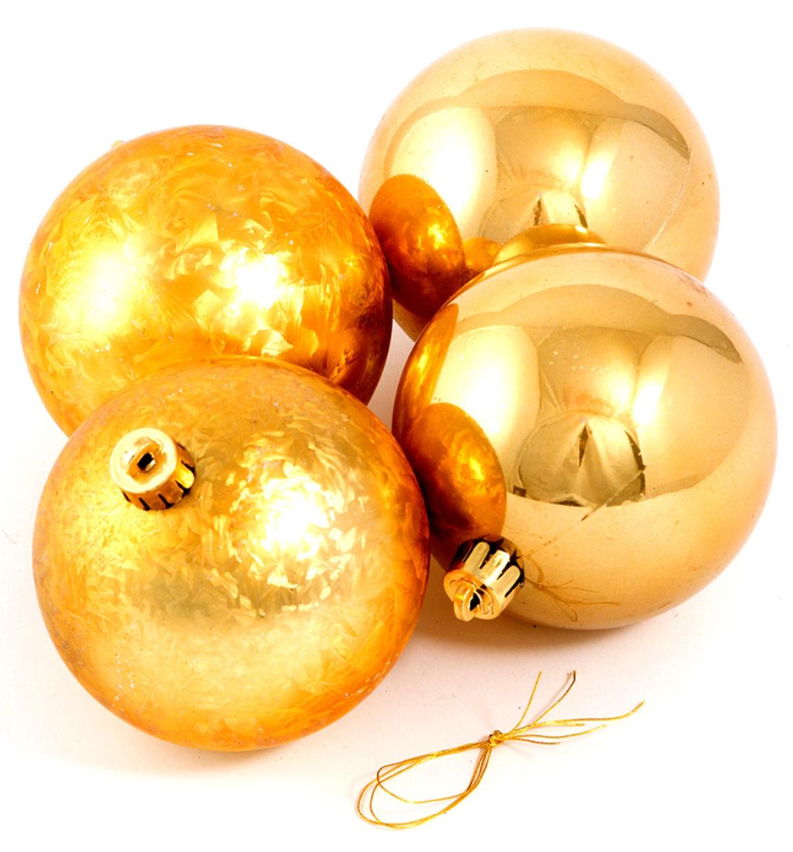 Набор ёлочных игрушек Шары из 4 шт, 80 мм золото . 7105671056Елочная игрушка, символ приближающегося праздника. Она послужит прекрасным подарком как для ребенка , так и для взрослого, а так же дополнит новогодний интерьер.