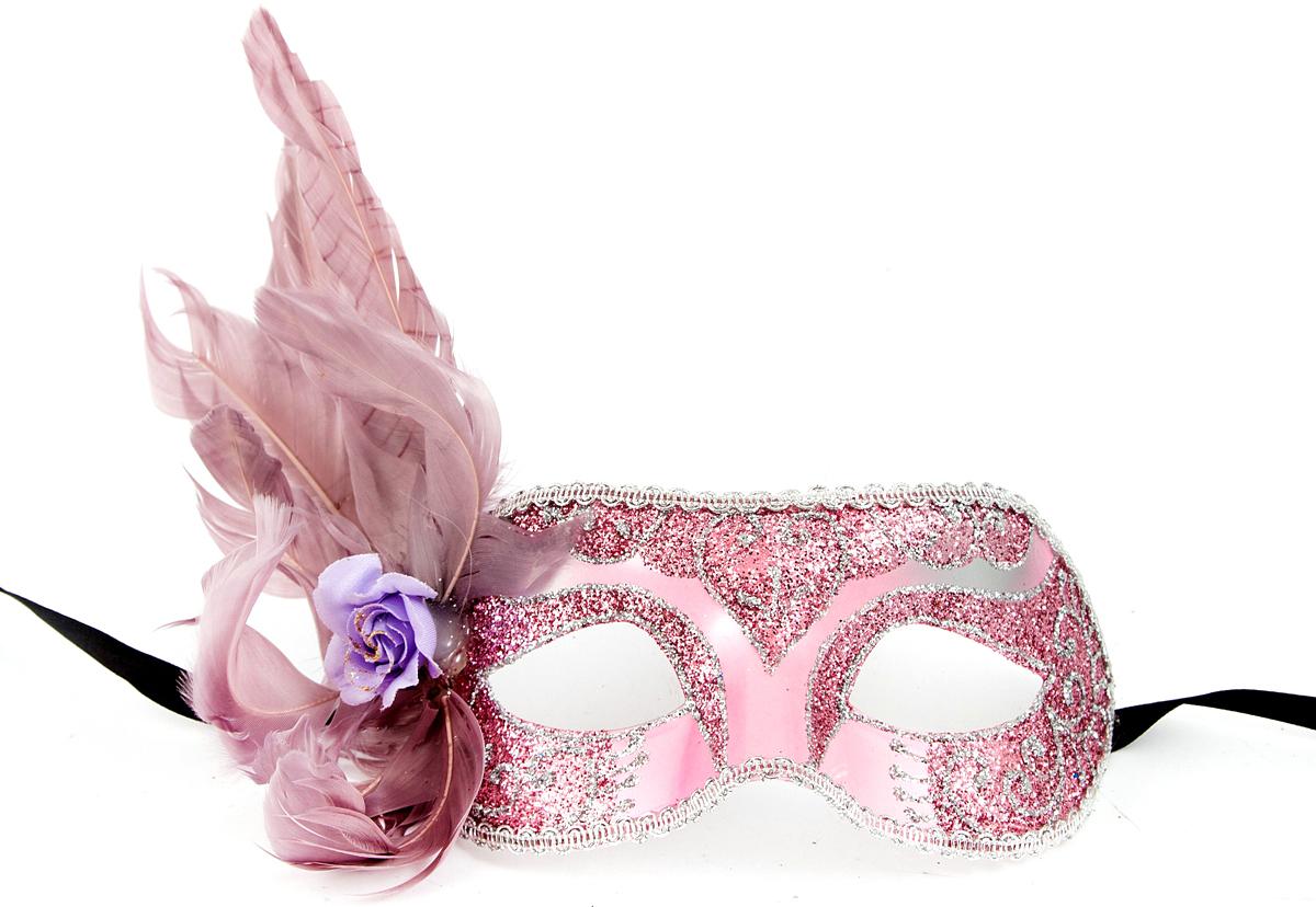 Маска венецианская, цвет: розовый, 15 см. 97241