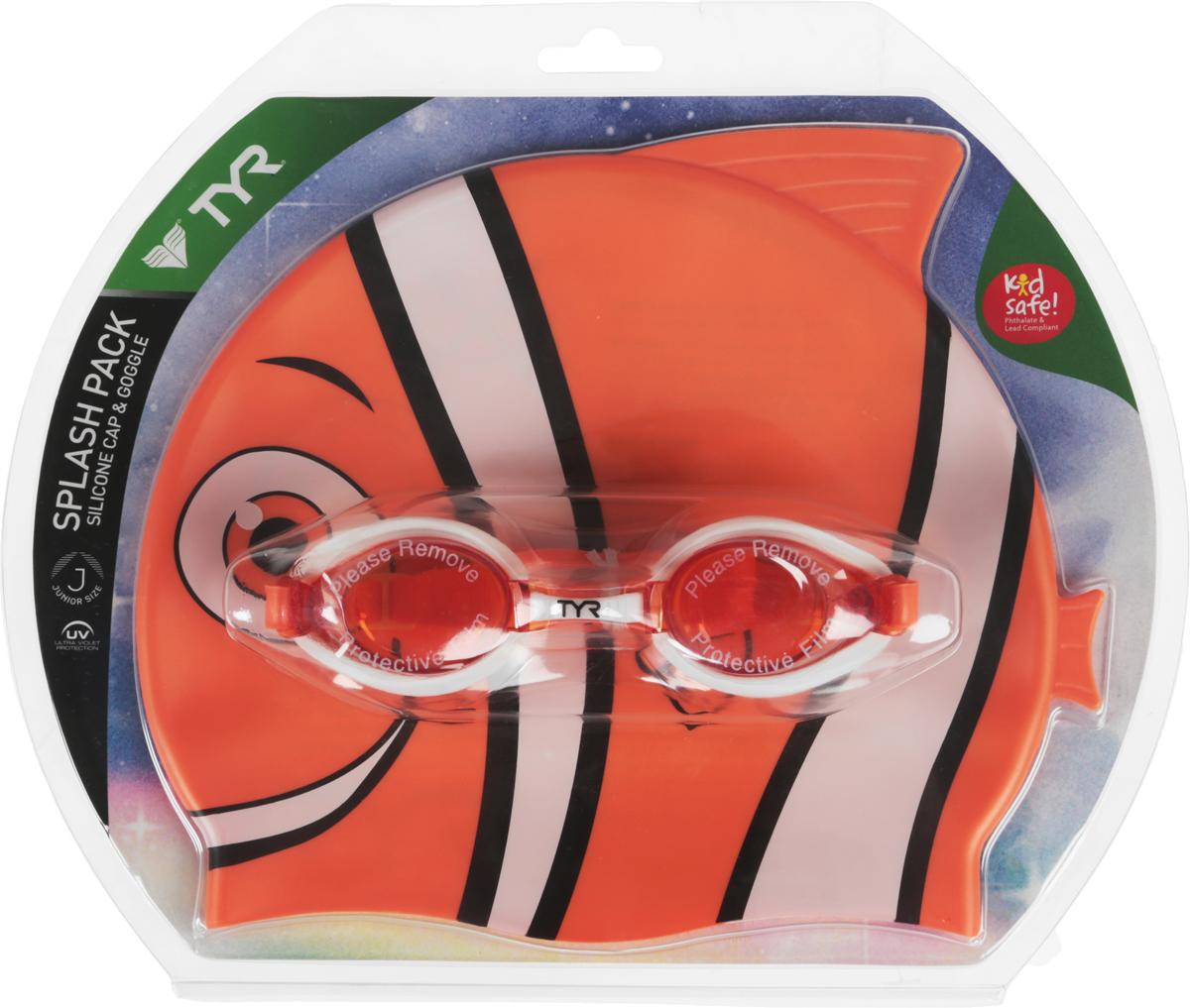 Набор для плавания Tyr Happy Fish CharacTyrs Splash Pack, очки и шапочка, цвет: оранжевый. LCSPLSH шапочка для плавания tyr tyr ty003dujzb79
