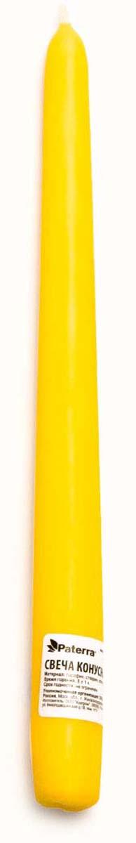 Свеча Paterra, конусная, цвет: желтый401-435Свеча конусная желтые PATERRA- это не только надежный источник света, но и замечательное украшение для Вашего праздничного стола и интерьера. Помещение, в котором горят восковые свечи, наполняется энергией, приятной теплотой и гармонией. Свечи PATERRA изготовлены из высококачественного сырья, НЕ растрескиваются, НЕ коптят и НЕ оплывают в процессе использования.Меры предосторожности: соблюдайте осторожность при использовании свечей, не оставляйте зажженные свечи без присмотра.Условия хранения: хранить при температуре не выше +30°С. Избегать попадания прямых солнечных лучей.
