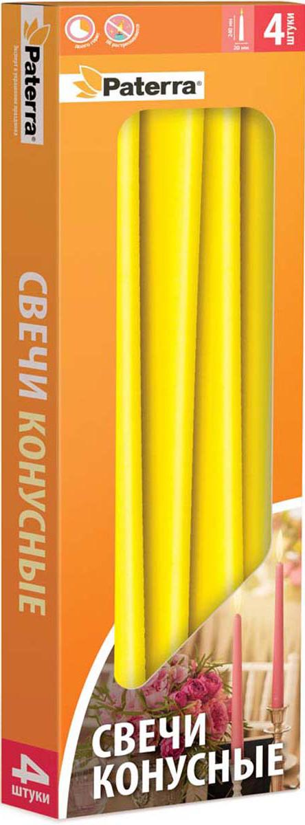Набор свечей Paterra, конусные, цвет: желтый, 4 шт401-555Свечи конусные желтые PATERRA- это не только надежный источник света, но и замечательное украшение для Вашего праздничного стола и интерьера. Помещение, в котором горят восковые свечи, наполняется энергией, приятной теплотой и гармонией. Свечи PATERRA изготовлены из высококачественного сырья, НЕ растрескиваются, НЕ коптят и НЕ оплывают в процессе использования.Меры предосторожности: соблюдайте осторожность при использовании свечей, не оставляйте зажженные свечи без присмотра.Условия хранения: хранить при температуре не выше +30°С. Избегать попадания прямых солнечных лучей.