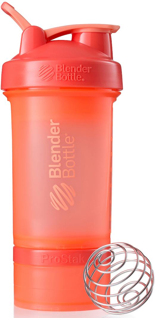 Шейкер спортивный BlenderBottle ProStak Full Color, с контейнером, цвет: коралловый, 650 мл шейкер blenderbottle pro45 full color 1330ml grey crimson bb pr45 fcgp