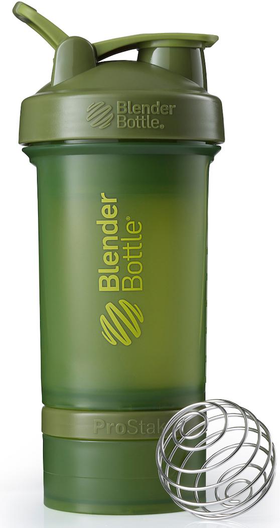Шейкер спортивный BlenderBottle ProStak Full Color, с контейнером, цвет: оливковый, 650 мл шейкер blenderbottle pro45 full color 1330ml grey crimson bb pr45 fcgp