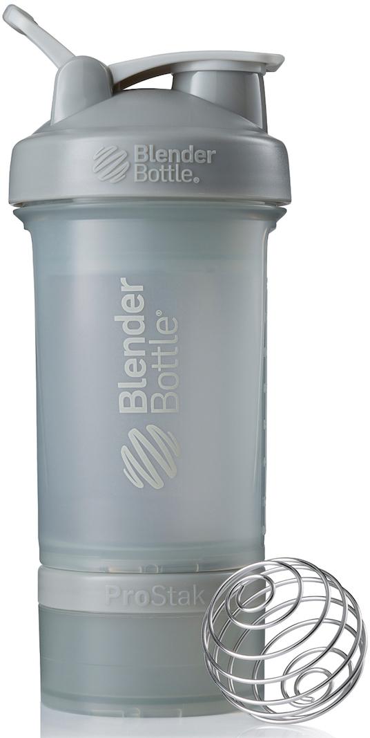 Шейкер спортивный BlenderBottle ProStak Full Color, с контейнером, цвет: серый, 650 мл шейкер blenderbottle pro45 full color 1330ml grey crimson bb pr45 fcgp