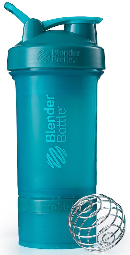 Шейкер спортивный BlenderBottle ProStak Full Color, с контейнером, цвет: голубой, 650 мл шейкер blenderbottle pro45 full color 1330ml grey crimson bb pr45 fcgp