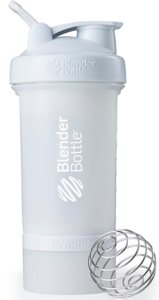 Шейкер спортивный BlenderBottle ProStak Full Color, с контейнером, цвет: белый, 650 мл шейкер blenderbottle pro45 full color 1330ml grey crimson bb pr45 fcgp