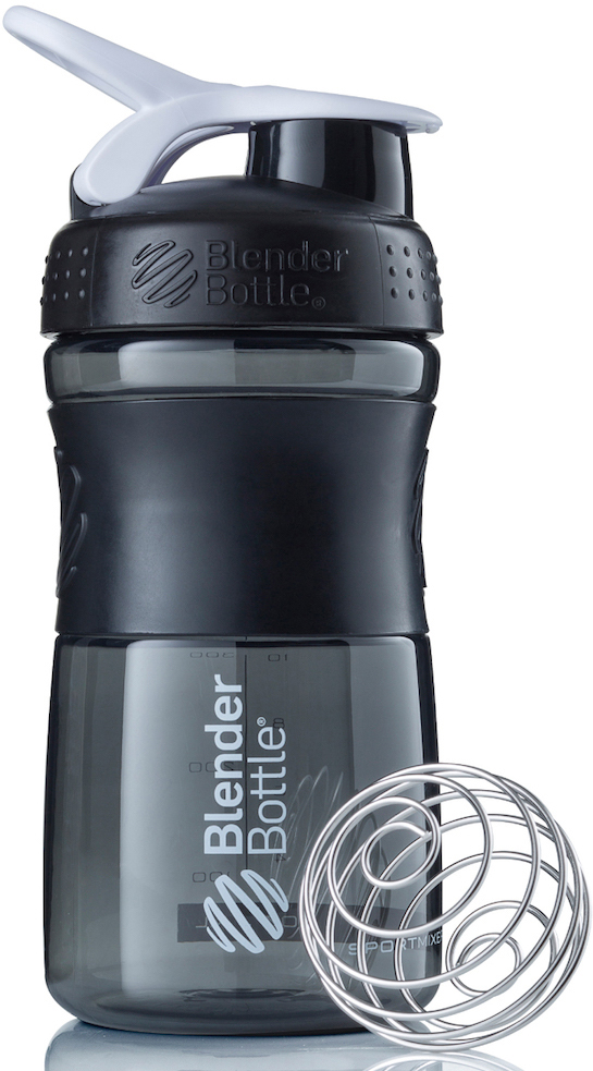 Шейкер спортивный BlenderBottle SportMixer, цвет: черный, белый, 591 млBB-SM20-BWHIСтиль, инновации и универсальность в равной мере. BlenderBottle SportMixer принял вызов вашей активной, деловой и спортивной жизни. Новое понимание, что значит быть современной бутылкой для воды. Идеален для: - Воды - Смешивания любых напитков - Электролитов - Энергетических напитков - Заменителей пищи - Пищевых добавок - Протеиновые смеси - Смузи и шейки - Смеси с клетчаткой и многое другое.Прочный. Не впитывает запахи. Безопасный. SportMixer остается прочным и прозрачным в течение всего срока эксплуатации. Он изготовлен из безопасного пластика с закрытыми порами, Eastman Tritan, который не содержит бисфенолы (BPA, BPS и другие) и фталаты. Материал не выделяет вредных веществ и не впитывает запахи, а значит вы сможете в полной мере насладиться вкусом вашего напитка не переживая за свое здоровье и здоровье ваших близких!Закройте, подвесьте на сумке и носите с собой. Удобное кольцо на крышке позволяет легко крепить SportMixer к сумке или рюкзаку и взять его собой в тренажерный зал или в офис. Кольцо SportLoop разработано таким образом, что при любом весе бутылки и нагрузке крышка останется закрытой.Не выскользнет из рук. Ребра на крышке и объемное изображение на резиновом SportGrip обеспечивает крепкое сцепление даже со влажной ладонью, трясете ли вы питательный или протеиновый коктейль, или держите его в руке во время утренней пробежки.Смешивай! Что-то больше, чем просто вода? Запатентованный шарик-венчик BlenderBall смешивает энергетические напитки и электролиты, протеиновые коктейли и многое другое, легко! Шарик BlenderBall разворачивается внутри бутылки, смешивая ваши напитки до однородной консистенции, каждый раз, сотни раз. Изготовлен из 316-хирургической нержавеющей стали, что позволяет не вынимать BlenderBall из бутылки с вашим напитком: он не ржавеет и не подтвержден коррозии.Как повысить эффективность тренировок с помощью спортивного питания? Статья OZON Гид