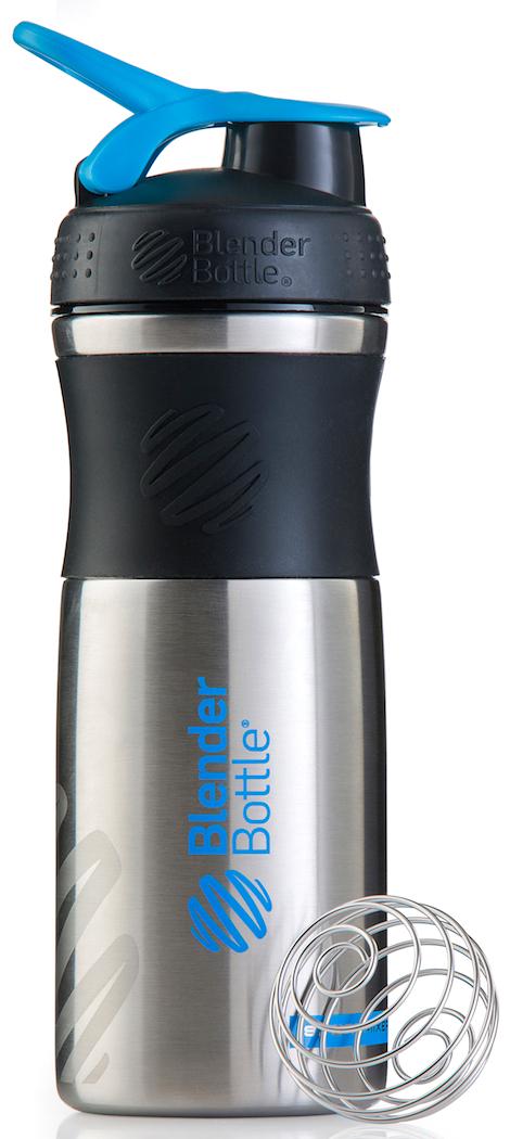 Шейкер спортивный BlenderBottle SportMixer Stainless, цвет: черный, бирюзовый, 828 млBB-SMST-BLCYОдна из самых популярных моделей BlenderBottle, шейкер / бутылка для воды SportMixer, теперь доступна в исполнении из высококачественной ударопрочной нержавеющей стали! Идеален для:- Воды- Смешивания любых напитков- Электролитов- Энергетических напитков- Заменителей пищи- Пищевых добавок- Протеиновые смеси- Смузи и шейки- Смеси с клетчаткой и многое другоеЭлегантный, прочный, изготовленный из высококачественной однослойной нержавеющей стали - он идеально подходит как для спортивного зала, так и для тренировок на открытом воздухе!Прочный. Не впитывает запахи. Безопасный.BlenderBottle SportMixer Stainless изготовлен из высококачественной однослойной, ударопрочной нержавеющей стали, маркировка 18/8. Цифра 18 обозначает содержание хрома. Именно хром отвечает за нержавеющие свойства материала. Вторая цифра, 8, говорит о содержании никеля. Никель придает изделию из нержавеющей стали те самые зеркальность и блеск. Никаких пятен, ржавчины или коррозии: ваш Sportmixer будет радовать вас в течение всего срока эксплуатации!Закройте, подвесьте на сумке и носите с собой.Удобное кольцо на крышке позволяет легко крепить SportMixer к сумке или рюкзаку и взять его собой в тренажерный зал или в офис. Кольцо SportLoop разработано таким образом, что при любом весе бутылки и нагрузке крышка останется закрытой.Не выскользнет из рук.Ребра на крышке и объемное изображение на резиновом SportGrip обеспечивает крепкое сцепление даже со влажной ладонью, смешиваете ли вы питательный или протеиновый коктейль, или держите его в руке во время утренней пробежки.СмешивайЧто-то больше, чем просто вода? Запатентованный шарик-венчик BlenderBall смешивает энергетические напитки и электролиты, протеиновые коктейли и многое другое, легко! Шарик BlenderBall разворачивается внутри бутылки, смешивая Ваши напитки до однородной консистенции, каждый раз, сотни раз. Изготовлен из 316-хирургической нержавеющей стали, 