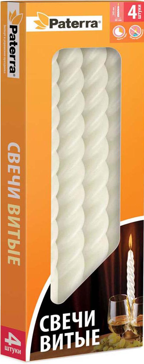 Набор свечей Paterra, витые, цвет: белый, 4 шт401-549Свечи витые белые Paterra - это не только надежный источник света, но и замечательное украшение для вашего праздничного стола и интерьера. Классическая витая форма свечей отличается изысканной и изящной формой.Свечи Paterra изготовлены из высококачественного сырья, не растрескиваются, не коптят и не оплывают в процессе использования.Меры предосторожности: соблюдайте осторожность при использовании свечей, не оставляйте зажженные свечи без присмотра.Условия хранения: хранить при температуре не выше +30°С. Избегать попадания прямых солнечных лучей.