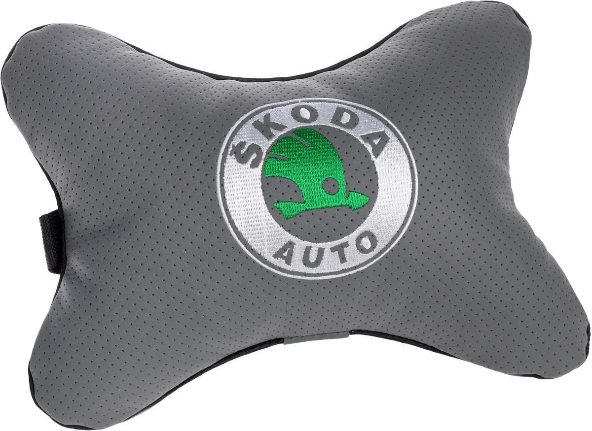Подушка автомобильная Autoparts Skoda, на подголовник, цвет: серый, белый, зеленый, 30 х 20 см подушка на сиденье autoparts renault 30 х 30 см