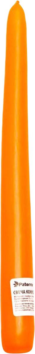Свеча Paterra, конусная, цвет: оранжевый401-439Свеча конусная оранжевая PATERRA- это не только надежный источник света, но и замечательное украшение для Вашего праздничного стола и интерьера. Помещение, в котором горят восковые свечи, наполняется энергией, приятной теплотой и гармонией. Свечи PATERRA изготовлены из высококачественного сырья, НЕ растрескиваются, НЕ коптят и НЕ оплывают в процессе использования.Меры предосторожности: соблюдайте осторожность при использовании свечей, не оставляйте зажженные свечи без присмотра.Условия хранения: хранить при температуре не выше +30°С. Избегать попадания прямых солнечных лучей.
