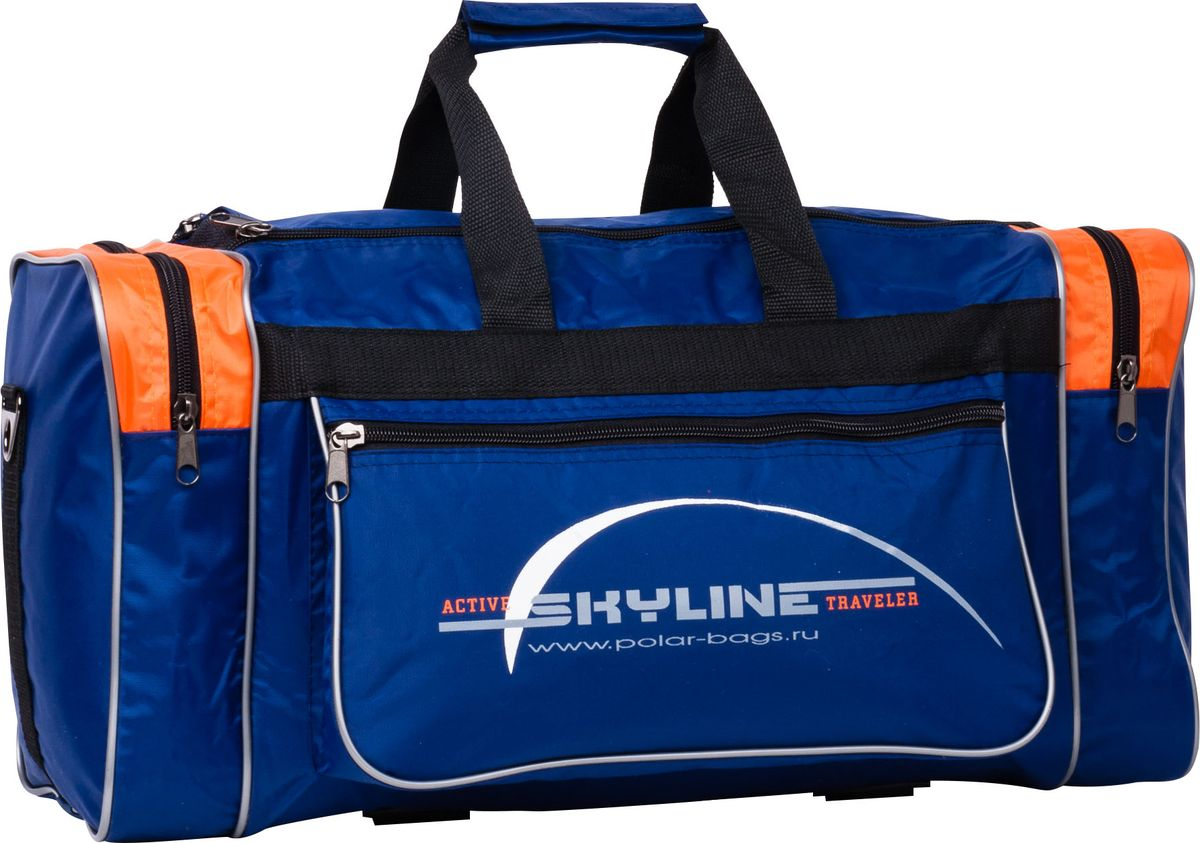Сумка спортивная Polar, цвет: синий, оранжевый, 30,5 л. 60076007Спортивная сумка Polar. Одно основное отделение. Карман на молнии по бокам сумки. Прорезной карман на молнии спереди сумки. Имеется плечевой ремень.
