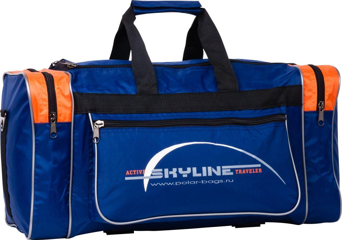 Сумка спортивная Polar, цвет: синий, оранжевый, 30,5 л. 6007
