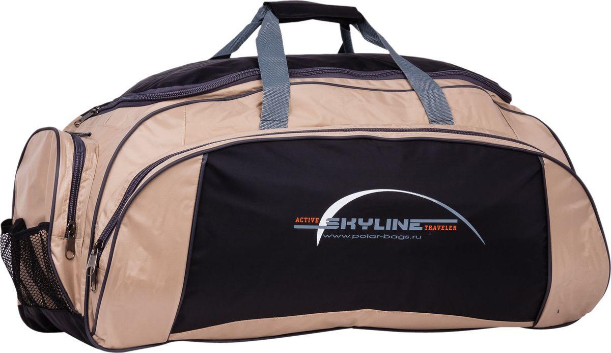Сумка спортивная Polar, цвет: черный, бежевый, 73,5 л. 6064/6 сумка спортивная мужская adidas cvrt 3s duf m цвет черный 37 л cg1533