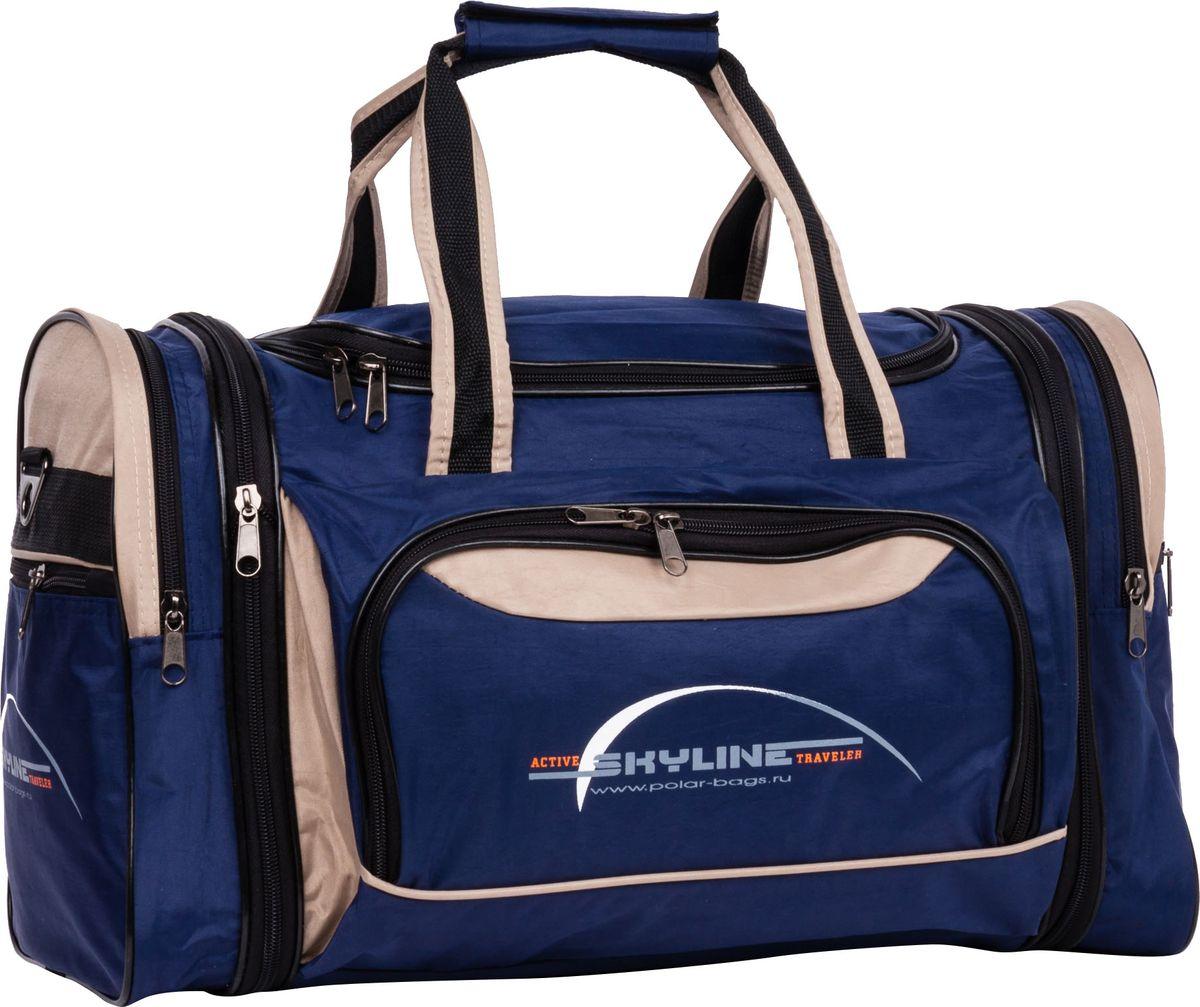 Сумка спортивная Polar, цвет: синий, бежевый, 38 л. 60676067Вместительная спортивная сумка среднего размера Polar выполнена из полиэстера с водоотталкивающей пропиткой. Она имеет одно главноеотделение, два боковых кармана и карман на передней части.Эта сумка идеально подойдет для спорта и отдыха. Спортивная сумка для вашихвещей. В комплект входит съемный плечевой ремень. Расширение по бокам сумки на +5 см.