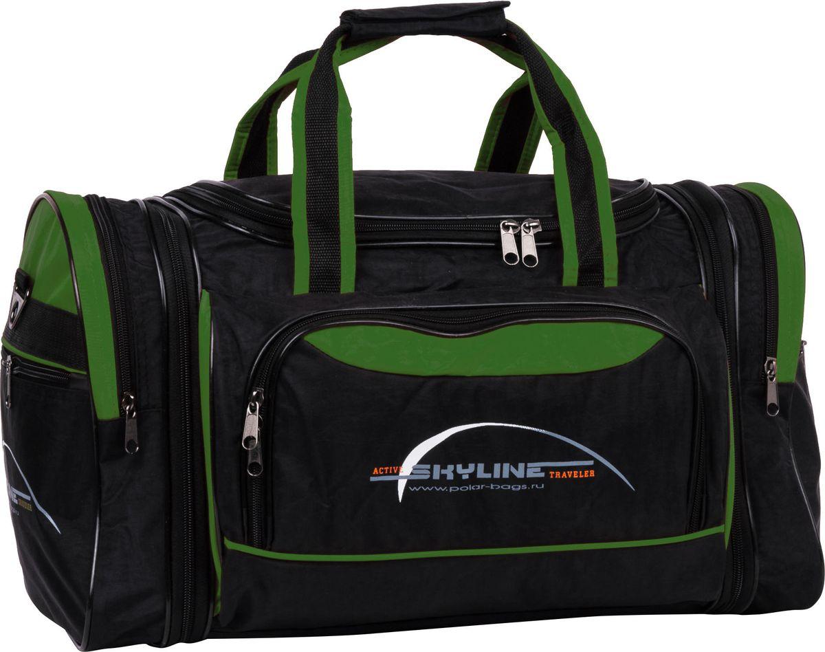 Сумка спортивная Polar, цвет: черный, зеленый, 38 л. 60676067Вместительнаядорожная сумка Polar - незаменимый аксессуар в путешествиях, походах и просто для занятий спортом.Выполнена из высокопрочного полиэстера с водоотталкивающей пропиткой. Благодаря удобной организации пространства сумки (большое отделение, два боковых кармана и карман на передней части) поможет вам быстро находить такие нужные вещи как кошелек, ключи, документы и пр..В комплект входит съемный плечевой ремень для удобного ношения. Конструкционно предусмотрено расширение по бокам сумки на +5 см.