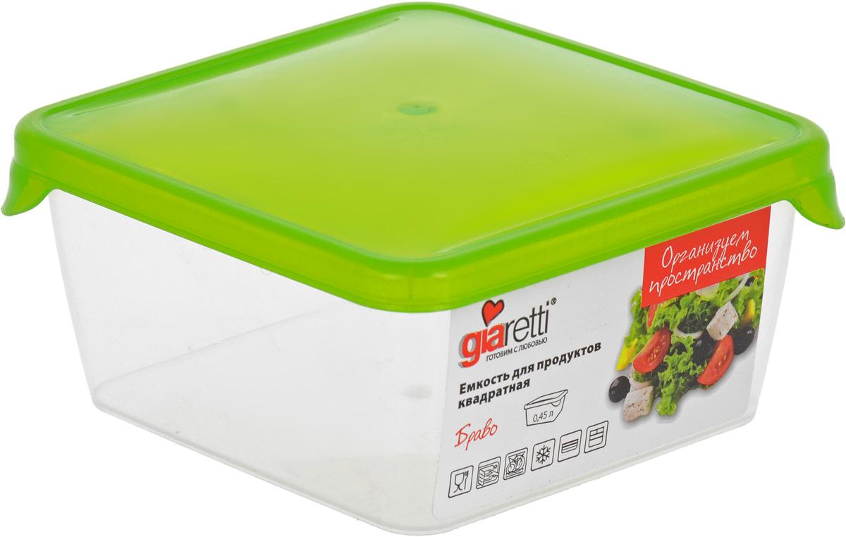 Емкость для продуктов Giaretti Браво, цвет: прозрачный, салатовый, 0,45 лGR1030МИКСЕмкость для продуктов Giaretti Браво изготовлена из пищевого полипропилена. Крышка плотно закрывается, дольше сохраняя продукты свежими. Боковые стенки прозрачные, что позволяет видеть содержимое.Емкость идеально подходит для хранения пищи, фруктов, ягод, овощей.Такая емкость пригодится в любом хозяйстве.