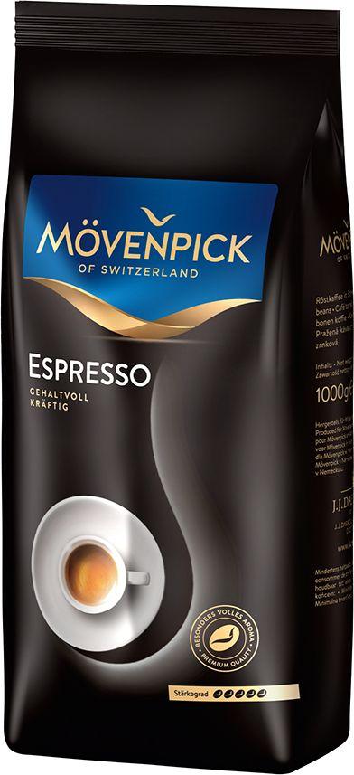J.J. Darboven Movenpick of Switzerland ESPRESSO кофе в зернах, 1 кг6272Кофе в зернах Movenpick Espresso – превосходно сбалансированный микс темной обжарки из лучших сортов отборной ароматной арабики с добавлением небольшого количества робусты. Насыщенный и тонизирующий, с интенсивным запахом и изысканным послевкусием, этот напиток идеально подходит для утренней трапезы – энергии, полученной от чашечки крепкого кофе, хватит вам на целый день. В то же время, несмотря на крепость, вкус его является достаточно мягким и деликатным, без выраженной горчинки. Movenpick Espresso можно рассматривать как оптимальный бленд для приготовления густого эспрессо в кофемешинах, френч-прессах или в обычных турках.Кофе: мифы и факты. Статья OZON Гид