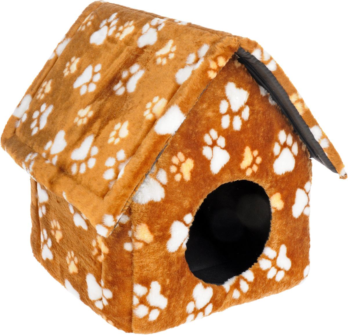 "Домик для животных ""Elite Valley"", цвет: светло-коричневый, белый, 37 х 35 х 45 см. Л-20/1"