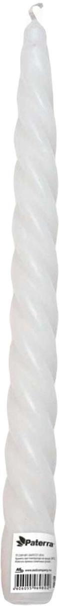 Свеча Paterra, витая, цвет: белый401-443Свеча витая белая PATERRA- это не только надежный источник света, но и замечательное украшение для Вашего праздничного стола и интерьера. Классическая витая форма свечей отличается изысканной и изящной формой. Свечи PATERRA изготовлены из высококачественного сырья, НЕ растрескиваются, НЕ коптят и НЕ оплывают в процессе использования.Меры предосторожности: соблюдайте осторожность при использовании свечей, не оставляйте зажженные свечи без присмотра.Условия хранения: хранить при температуре не выше +30°С. Избегать попадания прямых солнечных лучей.