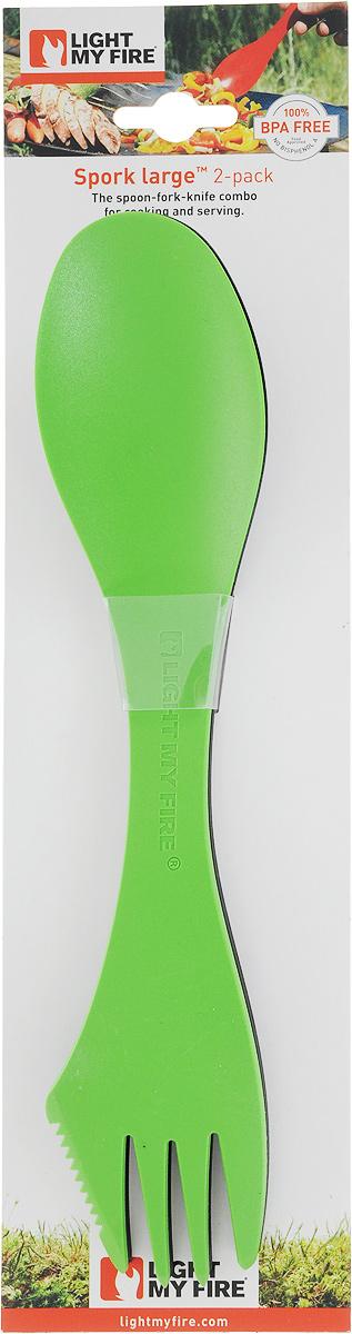 Ловилка Light My Fire Spork Large, цвет: зеленый, черный, 25 см, 2 шт ловилка light my fire spork original цвет голубой металлик серебристый 17 см 2 шт