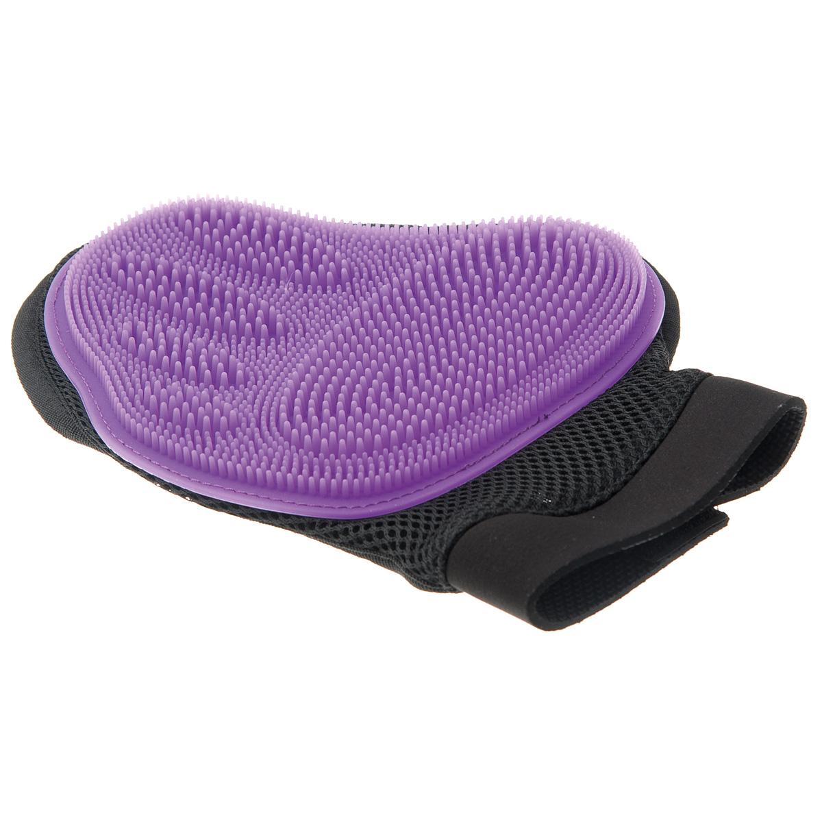 """Рукавица для чистки животных """"V.I.Pet"""", силиконовая, большая, цвет: фиолетовый"""