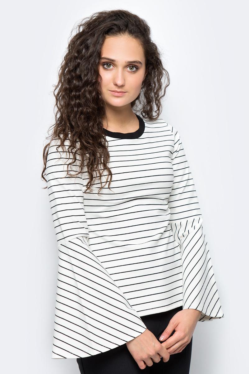 Блузка женская adL, цвет: белый, черный. 11533246000_019. Размер M (44/46)11533246000_019Стильная блузка adL выполнена из полиэстера с добавлением реиора и эластана. Модель свободного кроя с длинными расклешенными рукавами и круглым вырезом горловины оформлена полосатым принтом. В такой блузке вы будете выглядеть эффектно и модно.