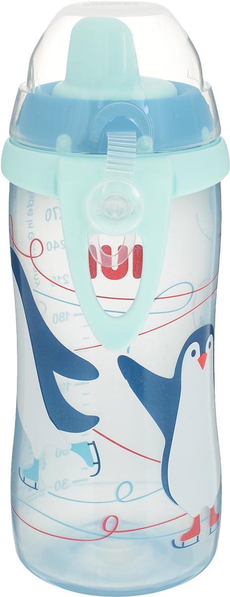 NUK Бутылочка-поильник Kiddy Cup Пингвины от 12 месяцев цвет голубой 300 мл