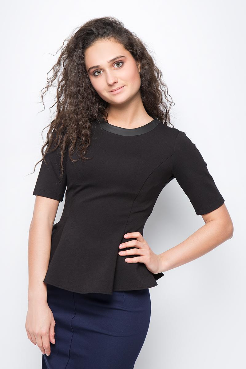 Блузка женская adL, цвет: черный. 11524396007_001. Размер M (44/46)11524396007_001Стильная блузка с баской выполнена из комбинированного приятного материала. Модель с круглым вырезом горловины и короткими рукавами отлично дополнит ваш образ.