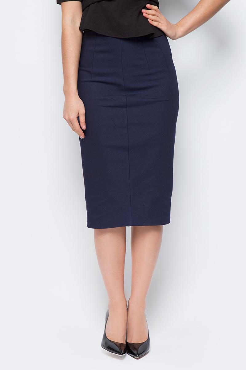 Юбка женская adL, цвет: темно-синий. 12723390006_018. Размер M (44/46)12723390006_018Стильная юбка-карандаш, выполненная из комбинированного материала, отлично дополнит ваш образ. Модельдополнена застежкой-молнией.