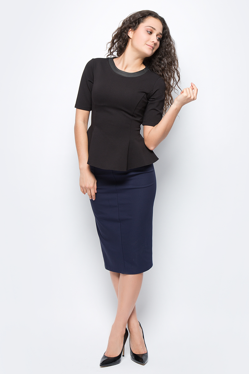 Юбка женская adL, цвет: темно-синий. 12723390006_018. Размер S (42/44)12723390006_018Стильная юбка-карандаш, выполненная из комбинированного материала, отлично дополнит ваш образ. Модельдополнена застежкой-молнией.