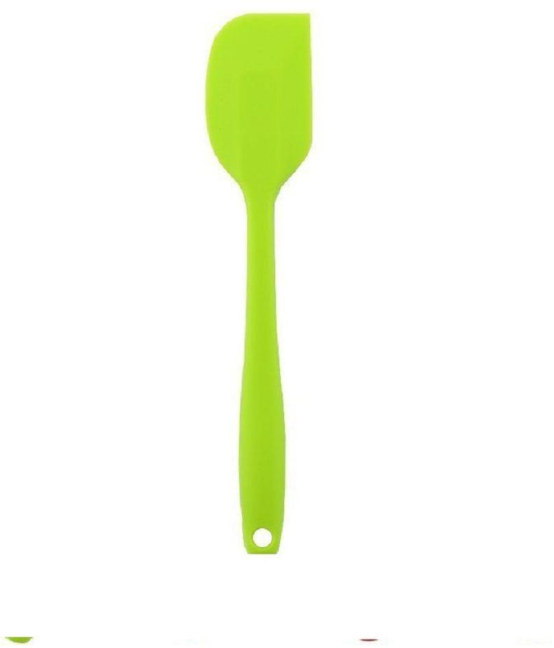 Лопатка-шпатель кулинарная FidgetGo, силиконовая, цвет: зеленый, длина 21 см2212345678117Сегодня можно увидеть очень много хозяйственных аксессуаров. Но кухонная лопатка порой является незаменимым предметом. При помощи такого простого, казалось бы, аксессуара, можно выполнять кучу действий: помешивать пищу в сковороде; снимать с противня мясо, рыбу, пироги, печенье и многое другое; равномерно распределять начинку для пирога и пиццы (ложкой так не получится); переворачивать блинчики; раскладывать блюда по тарелкам и многое другое. То есть можно было бы использовать и обычную ложку, только есть универсальные лопатки, которыми удобнее пользоваться, при этом они еще и не портят покрытие посуды. Гибкий и гигиеничный материал безопасен при использовании на антипригарных поверхностях. материал ложки устойчив к оплавлению и появлению пятен при температурных режимах до 260°C. Можно мыть в посудомоечной машине.