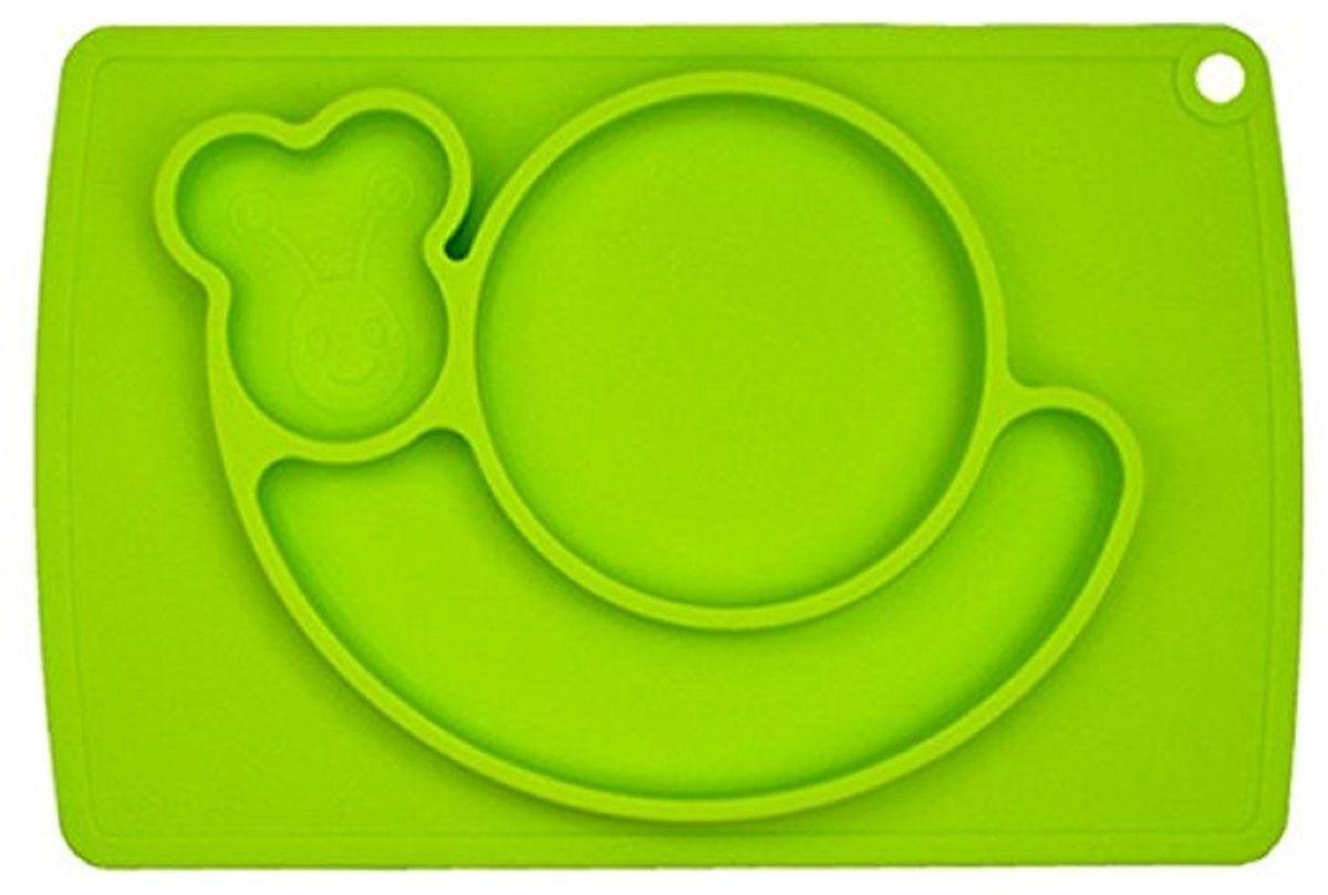 Тарелка детская FidgetGo Улитка, с подносом, цвет: зеленый, диаметр 22 см2212345678151.Тарелка благодаря силиконовому дну прилипает к столу и другим равномерным поверхностям, предотвращая беспорядок на кухне. Недоеденная еда так и останется на тарелке или пространстве вокруг нее, не испачкав стол и кухню. Перевернуть тарелку также невозможно, что действительно помогает экономить мамин труд.Детская посуда изготовлена из качественного пищевого силикона, абсолютно гипоаллергенного и безопасного. Еще одной приятной особенностью силиконовых тарелок для детей является то, что их можно мыть в посудомоечной машинке, разогревать в микроволновой печи, что обычно не предусмотрено при использовании других детских тарелочек.Весёлая форма тарелки поднимет настроение вашему ребенку.