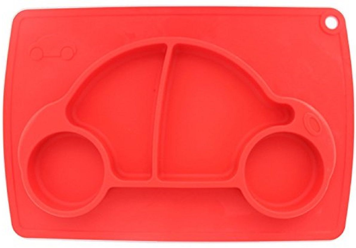 Тарелка детская FidgetGo Машинка, с подносом, цвет: красный, диаметр 22 см2212345678153Тарелка благодаря силиконовому дну прилипает к столу и другим равномерным поверхностям, предотвращая беспорядок на кухне. Недоеденная еда так и останется на тарелке или пространстве вокруг нее, не испачкав стол и кухню. Перевернуть тарелку также невозможно, что действительно помогает экономить мамин труд.Детская посуда изготовлена из качественного пищевого силикона, абсолютно гипоаллергенного и безопасного. Еще одной приятной особенностью силиконовых тарелок для детей является то, что их можно мыть в посудомоечной машинке, разогревать в микроволновой печи, что обычно не предусмотрено при использовании других детских тарелочек.Весёлая форма тарелки поднимет настроение вашему ребенку.