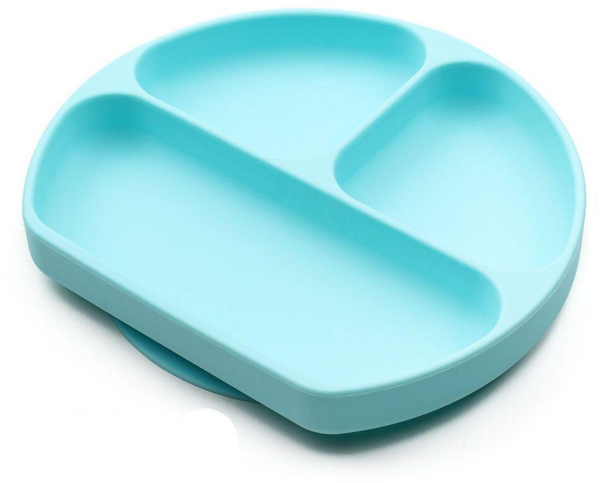 Тарелка FidgetGo, с 3 отсеками, цвет: голубой, диаметр 19 см2212345678158Тарелка благодаря силиконовому дну прилипает к столу и другим равномерным поверхностям, предотвращая беспорядок на кухне. Перевернуть тарелку также невозможно, что действительно помогает экономить мамин труд.Детская посуда изготовлена из качественного пищевого силикона, абсолютно гипоаллергенного и безопасного. Еще одной приятной особенностью силиконовых тарелок для детей является то, что их можно мыть в посудомоечной машинке, разогревать в микроволновой печи, что обычно не предусмотрено при использовании других детских тарелочек.