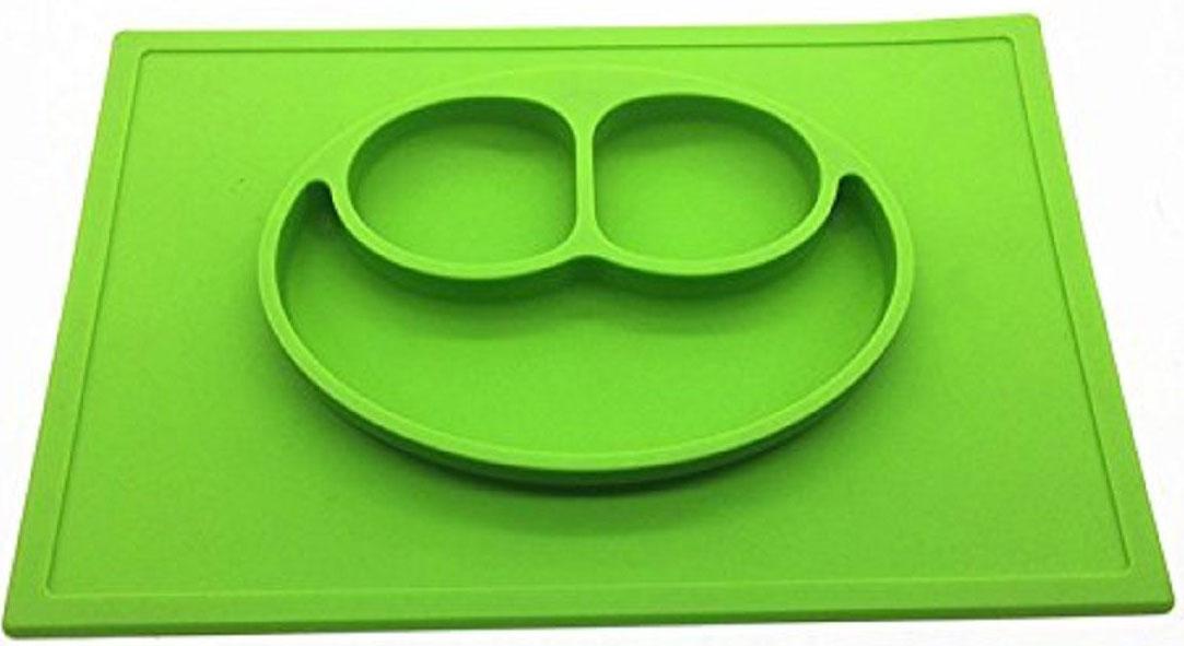 Тарелка детская FidgetGo Улыбка, с подносом, цвет: зеленый, диаметр 22 см2212345678952Тарелка благодаря силиконовому дну прилипает к столу и другим равномерным поверхностям, предотвращая беспорядок на кухне. Недоеденная еда так и останется на тарелке или пространстве вокруг нее, не испачкав стол и кухню. Перевернуть тарелку также невозможно, что действительно помогает экономить мамин труд.Детская посуда изготовлена из качественного пищевого силикона, абсолютно гипоаллергенного и безопасного. Еще одной приятной особенностью силиконовых тарелок для детей является то, что их можно мыть в посудомоечной машинке, разогревать в микроволновой печи, что обычно не предусмотрено при использовании других детских тарелочек. Весёлая форма тарелки поднимет настроение вашему ребенку.