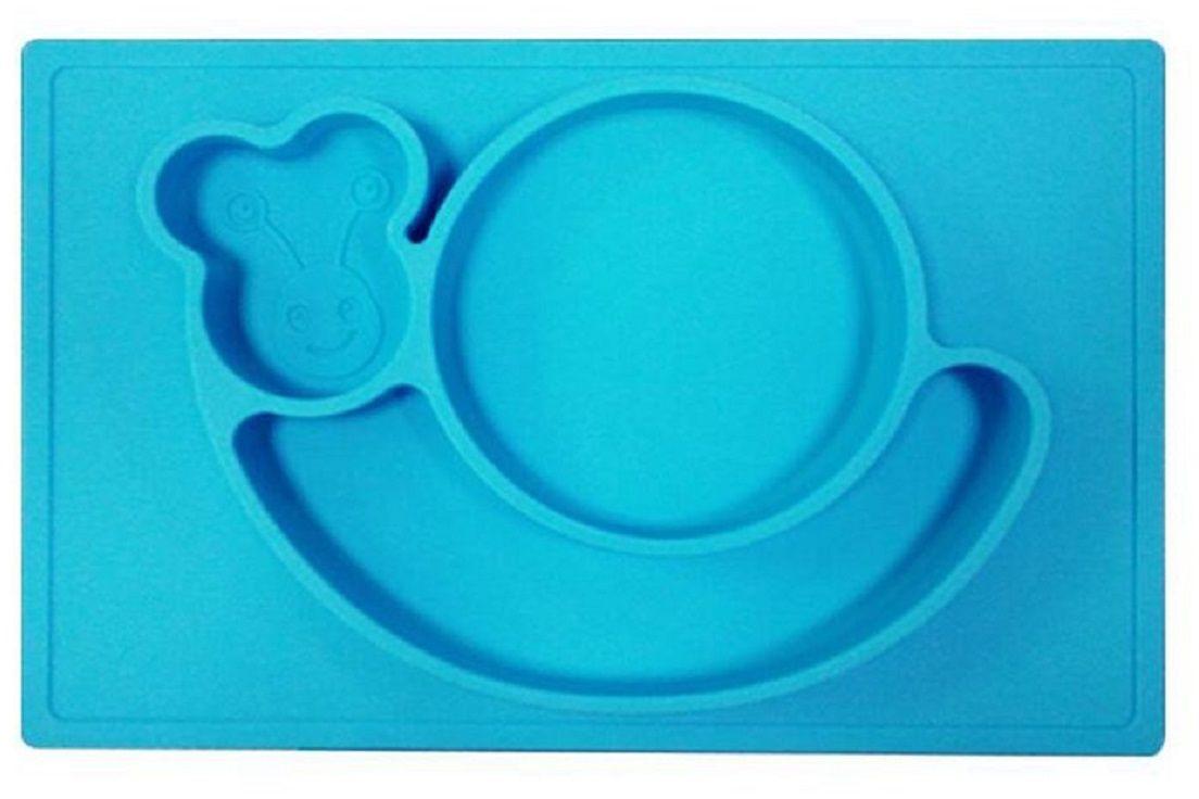 Тарелка FidgetGo Улитка, с подносом, цвет: голубой, диаметр 22 см2212345678955Уникальная новинка, не имеющая аналогов на Российском рынке представляет собой тяжеленькую силиконовую поверхность, представляющую собой поднос (плэйсмат, пространство для игр) с тарелкой.Тарелка благодаря силиконовому дну прилипает к столу и другим равномерным поверхностям, предотвращая беспорядок на кухне. Недоеденная еда так и останется на тарелке или пространстве вокруг нее, не испачкав стол и кухню. Перевернуть тарелку также невозможно, что действительно помогает экономить мамин труд.Детская посуда изготовлена из качественного пищевого силикона, абсолютно гипоаллергенного и безопасного. Еще одной приятной особенностью силиконовых тарелок для детей является то, что их можно мыть в посудомоечной машинке, разогревать в микроволновой печи, что обычно не предусмотрено при использовании других детских тарелочек.Весёлая форма тарелки поднимет настроение вашему ребенку.