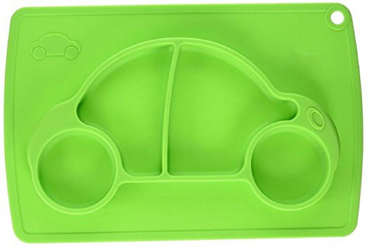 Тарелка детская FidgetGo Машинка, с подносом, цвет: зеленый, диаметр 22 см2212345678956Тарелка благодаря силиконовому дну прилипает к столу и другим равномерным поверхностям, предотвращая беспорядок на кухне. Недоеденная еда так и останется на тарелке или пространстве вокруг нее, не испачкав стол и кухню. Перевернуть тарелку также невозможно, что действительно помогает экономить мамин труд. Детская посуда изготовлена из качественного пищевого силикона, абсолютно гипоаллергенного и безопасного. Еще одной приятной особенностью силиконовых тарелок для детей является то, что их можно мыть в посудомоечной машинке, разогревать в микроволновой печи, что обычно не предусмотрено при использовании других детских тарелочек. Весёлая форма тарелки поднимет настроение вашему ребенку.
