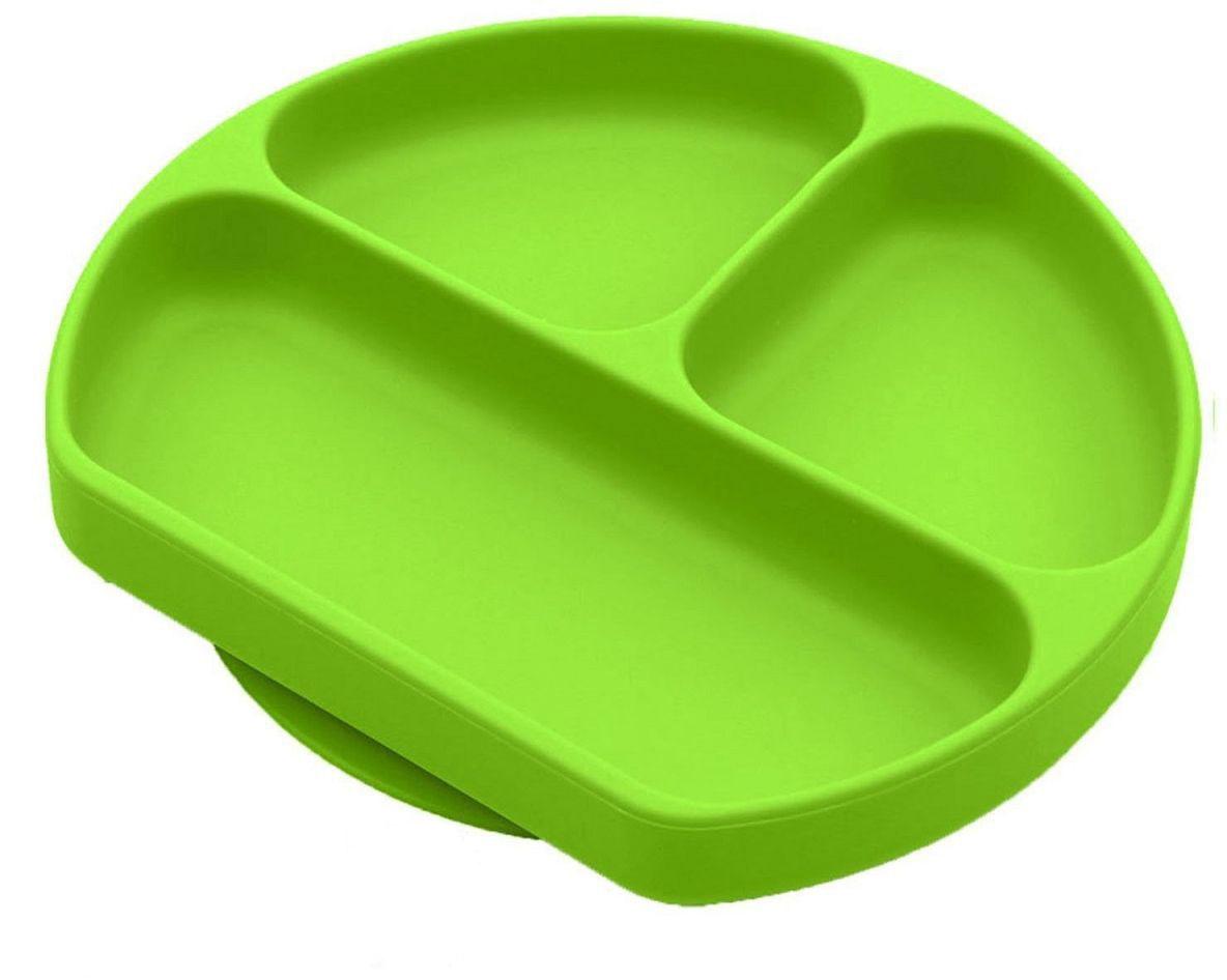 Тарелка FidgetGo, с 3 отсеками, цвет: зеленый, диаметр 19 см2212345678957Тарелка благодаря силиконовому дну прилипает к столу и другим равномерным поверхностям, предотвращая беспорядок на кухне. Перевернуть тарелку также невозможно, что действительно помогает экономить мамин труд.Детская посуда изготовлена из качественного пищевого силикона, абсолютно гипоаллергенного и безопасного. Еще одной приятной особенностью силиконовых тарелок для детей является то, что их можно мыть в посудомоечной машинке, разогревать в микроволновой печи, что обычно не предусмотрено при использовании других детских тарелочек.