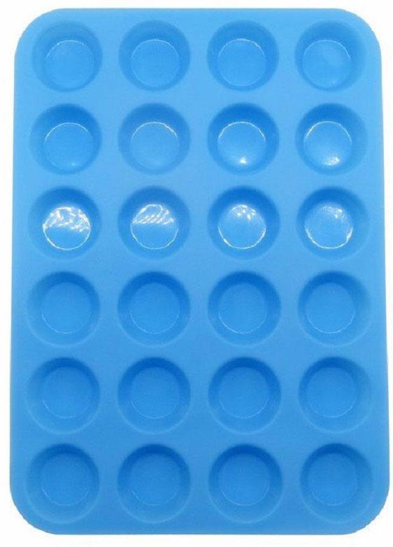 Форма для мини-кексов FidgetGo, цвет: голубой, 24 ячейки, 33,5 х 24 х 2 см2212345678985Испечь свои любимые сладкие лакомства легко и быстро! Форма для мини-кексов FidgetGo выполнена из силикона с антипригарным покрытием. Просто вылейте тесто, выпекайте, а затем вытащите кексы из гибкой формы.Вы также можете использовать форму не только для кексов, но и для приготовления шоколадных или желейных конфет, замороженного йогурта или льда.Эта силиконовая форма спроектирована и изготовлена с учетом горячих и холодных обработок и хорошо противостоит низкой и высокой температурам в диапазоне от -40°С до +230°С. Независимо от того, какие способы приготовления вы используете для нее, силикон не проявит ни малейшего признака износа. Она безопасна для морозильной камеры, духовки, микроволновой печи и посудомоечной машины.