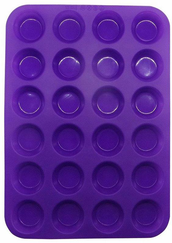 Форма для мини-кексов FidgetGo, цвет: фиолетовый, 24 ячейки, 33,5 х 24 х 2 см2212345678986Испечь свои любимые сладкие лакомства легко и быстро! Форма для мини-кексов FidgetGo выполнена из силикона с антипригарным покрытием. Просто вылейте тесто, выпекайте, а затем вытащите кексы из гибкой формы.Вы также можете использовать форму не только для кексов, но и для приготовления шоколадных или желейных конфет, замороженного йогурта или льда.Эта силиконовая форма спроектирована и изготовлена с учетом горячих и холодных обработок и хорошо противостоит низкой и высокой температурам в диапазоне от -40°С до +230°С. Независимо от того, какие способы приготовления вы используете для нее, силикон не проявит ни малейшего признака износа. Она безопасна для морозильной камеры, духовки, микроволновой печи и посудомоечной машины.