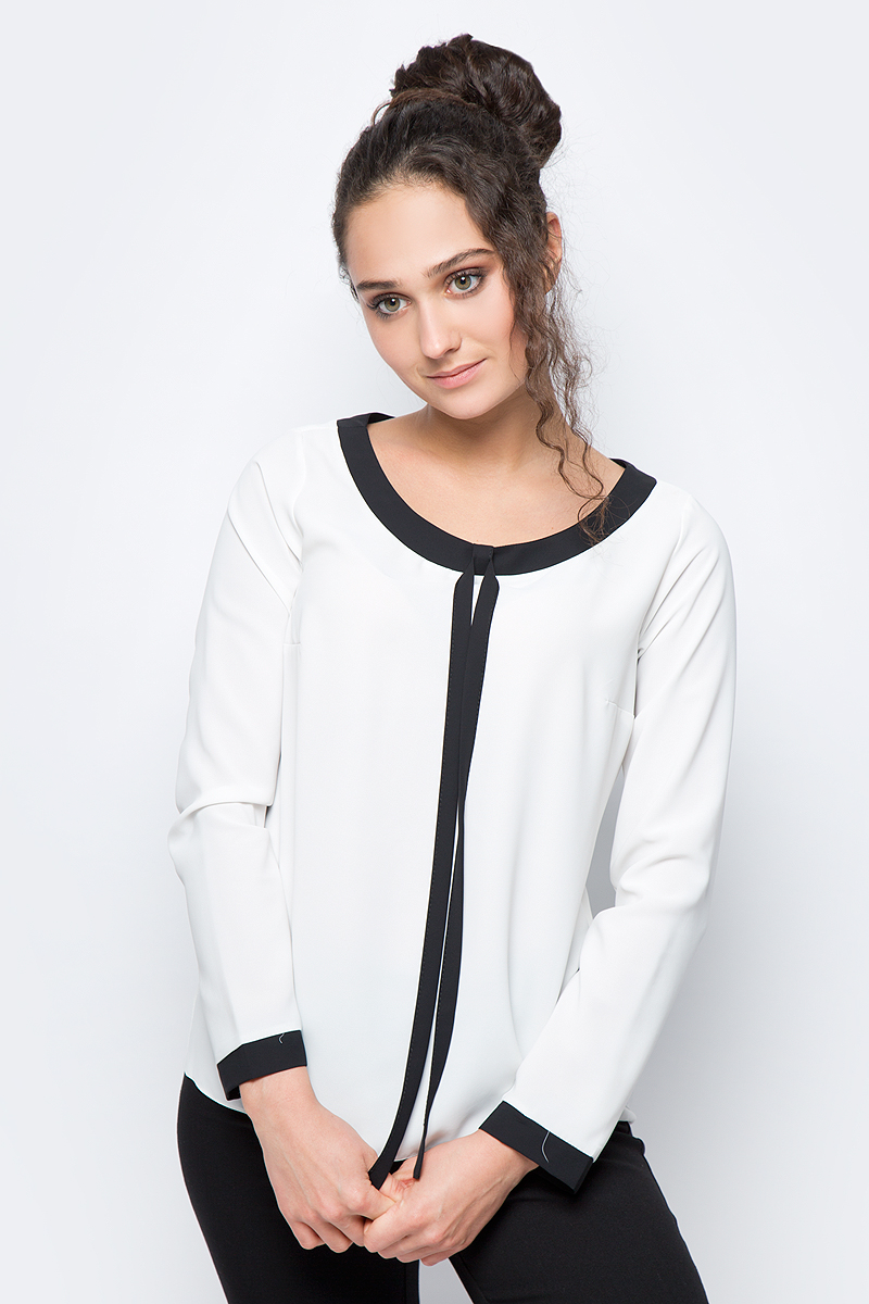 Блузка женская adL, цвет: молочный. 11532292000_019. Размер XS (40/42)11532292000_019Лаконичная блузка adL выполнена из полиэстера. Модель с длинными рукавами и круглым вырезом горловины дополнена контрастной отделкой по горловине и рукавам. В такой блузке вы будете выглядеть стильно и элегантно.