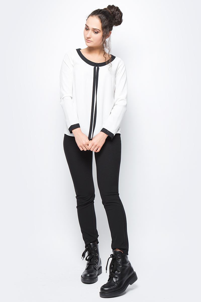 Блузка женская adL, цвет: молочный. 11532292000_019. Размер L (46/48)11532292000_019Лаконичная блузка adL выполнена из полиэстера. Модель с длинными рукавами и круглым вырезом горловины дополнена контрастной отделкой по горловине и рукавам. В такой блузке вы будете выглядеть стильно и элегантно.